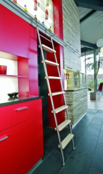 Design Bibliotheksleiter in Edelstahl