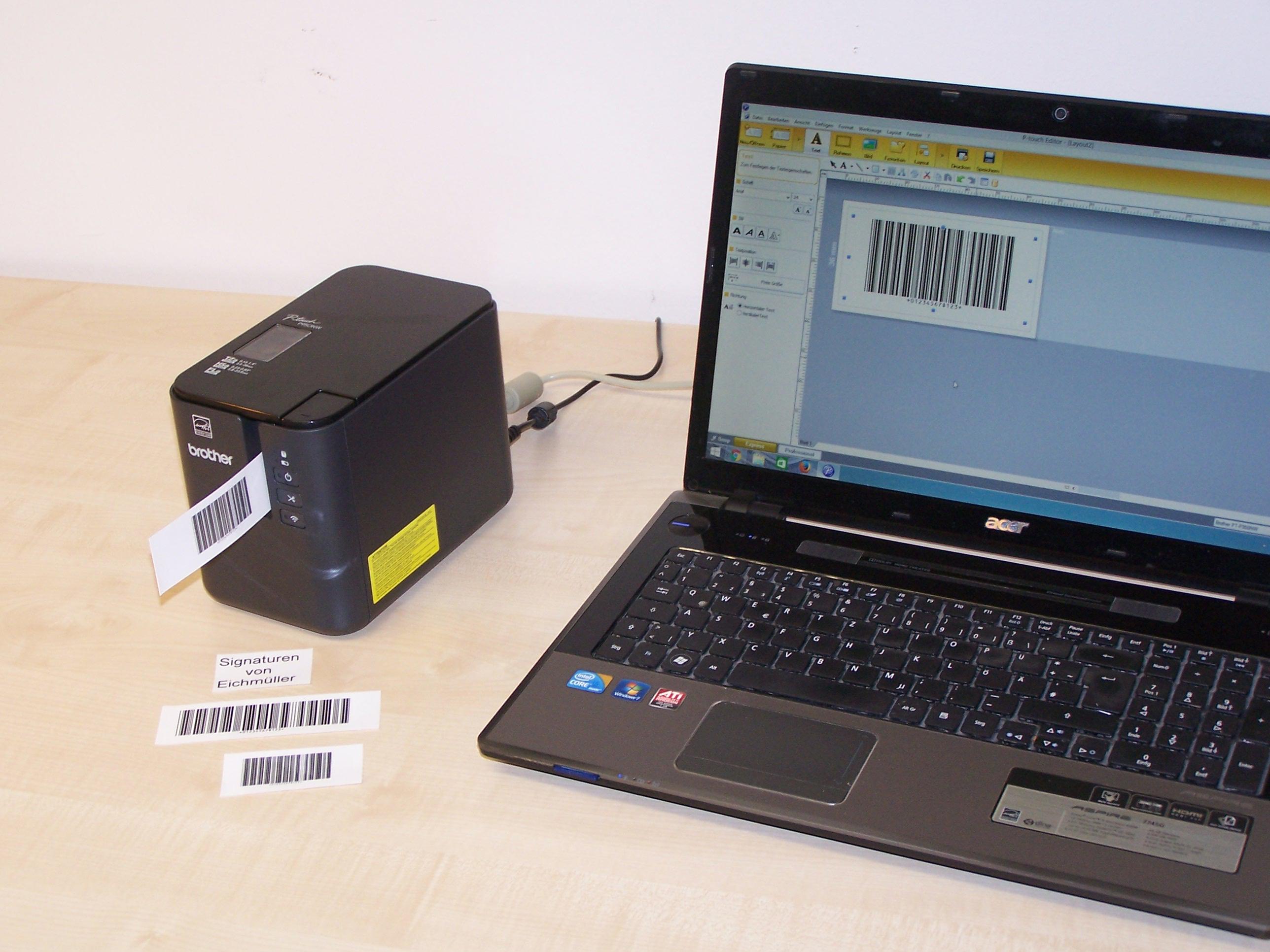 Signaturdrucker Brother P-touch P950NW inkl. Zubehör