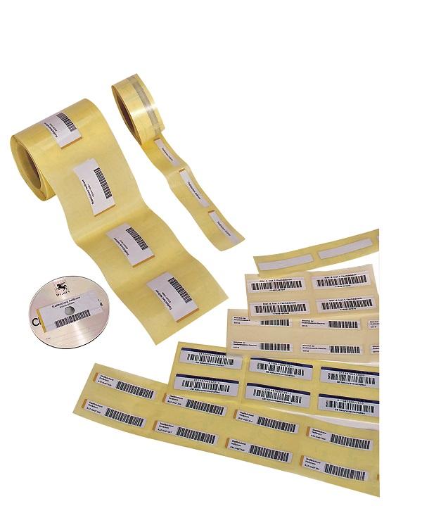 Barcode-Etiketten mit Sicherungsstreifen