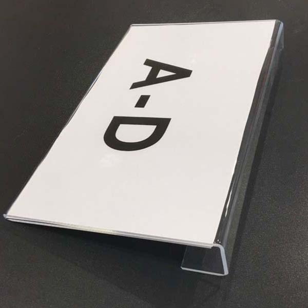 Hängendes Acrylschild für Büchertröge